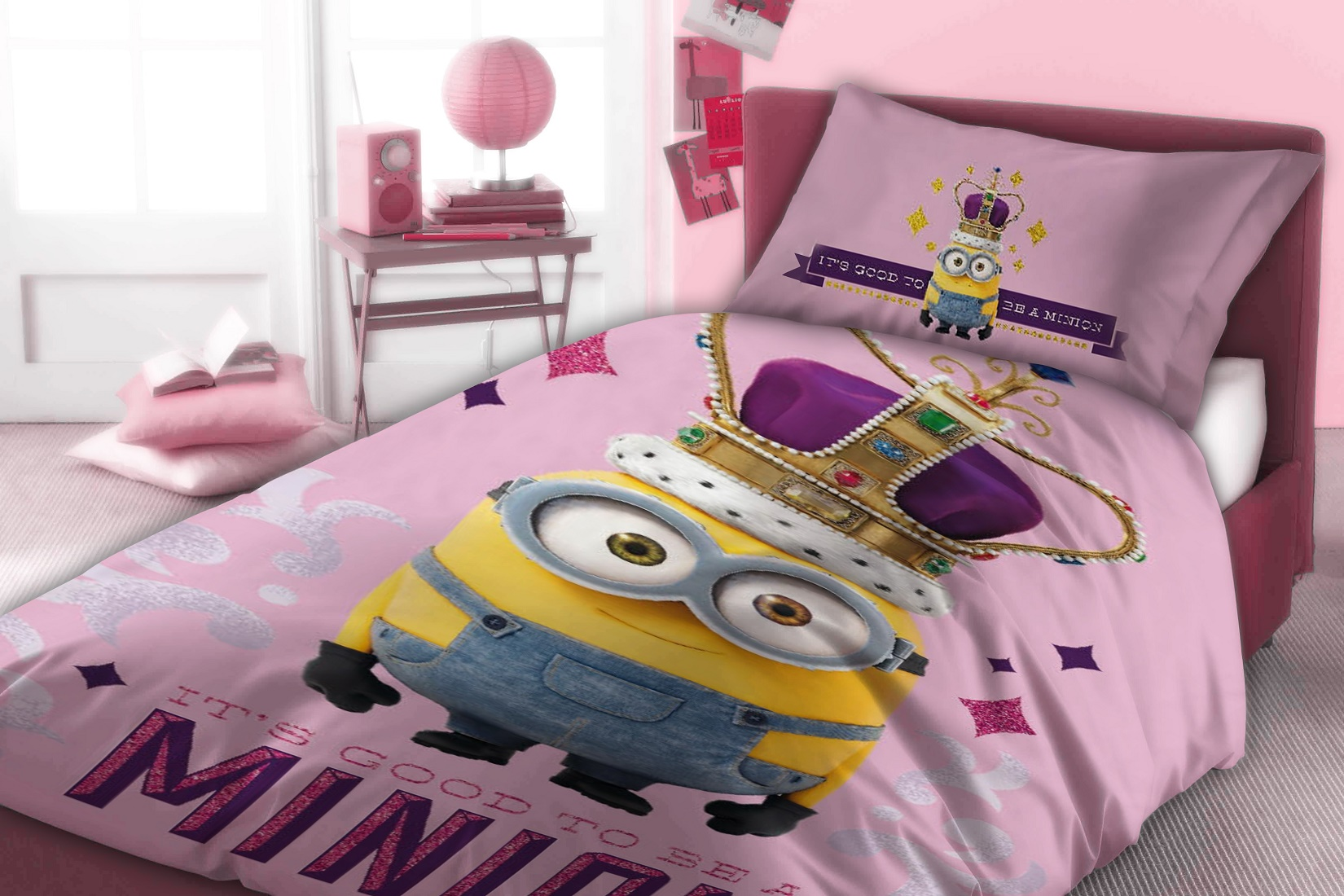 parure de lit minions fille. Black Bedroom Furniture Sets. Home Design Ideas
